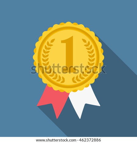 Flat golden medal with numbers one, vector eps10 illustration