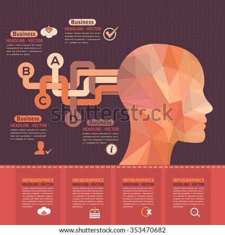 Flat Graphics Human Head, Business Concept Vector Infographics  - stock vector
