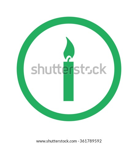 Flat green Candle Light icon and green circle