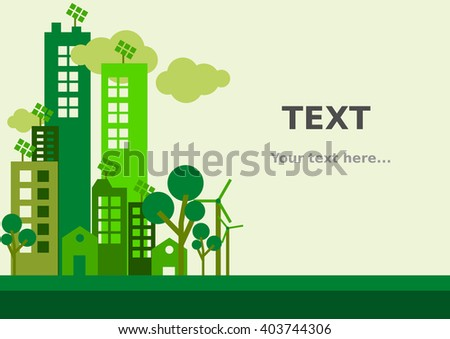 Flat Green City Background - stock vector