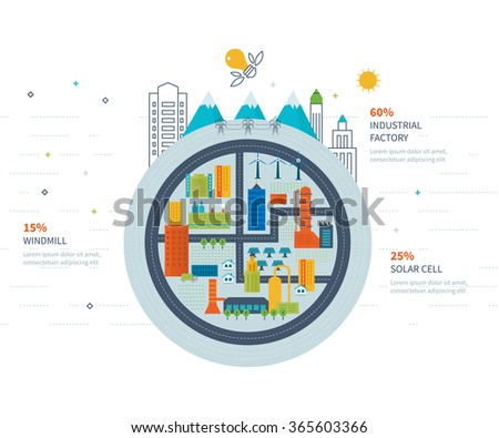 Flat green energy, ecology, eco, clean planet, urban landscape and industrial factory buildings concept vector icon banners template set. Infographic energy template design - stock vector