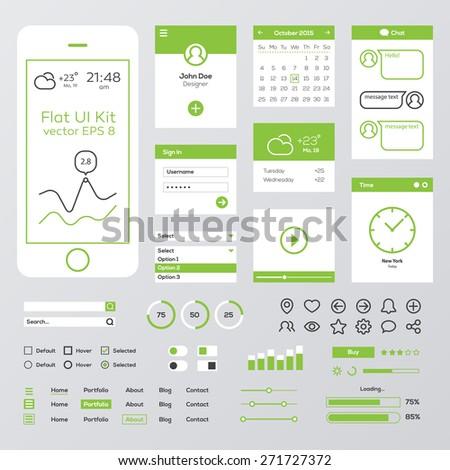 Flat Green Mobile Web UI Kit - stock vector