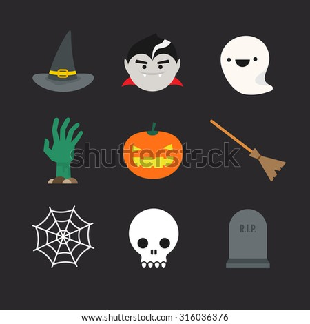 Flat halloween icons. Witch hat and broom, vampire, ghost, undead hand, pumpkin lantern, spider web, skull and tombstone - stock vector