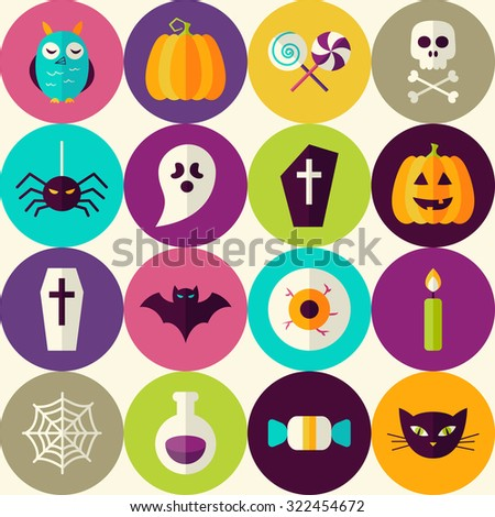 Flat Halloween Trick or Treat Seamless Pattern with Colorful Circles. Scary Halloween October Holiday Seamless Background Template. Halloween Party - stock vector