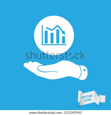 flat hand showing the icon of graph going down - vector illustration - stock vector