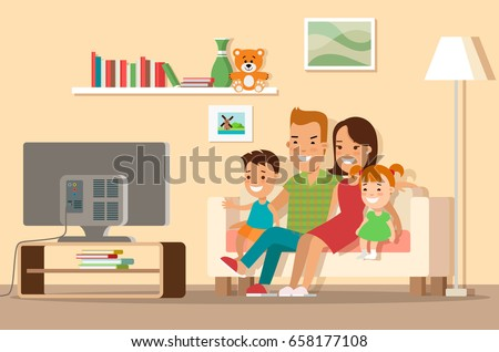 Living Room With Tv And People flat happy family watching tv vector stock vector 658177108