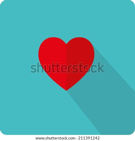 Flat heart icon. - stock vector