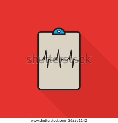 Flat heartbeat vector clipboard with red background