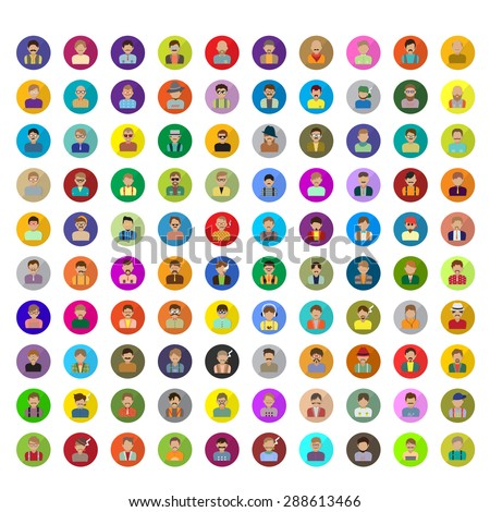 Flat Hipster People Icons Set - Isolated On White Background - Vector Illustration, Graphic Design   - stock vector