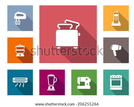 Flat home appliances icons set  with hand blender, gas stove, heater, mixer, sewing machine, oven, hairdryer, telephone and toaster - stock vector