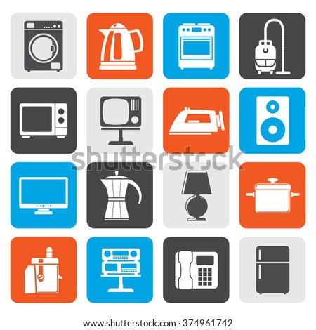 Flat home equipment icons - vector icon set  - stock vector