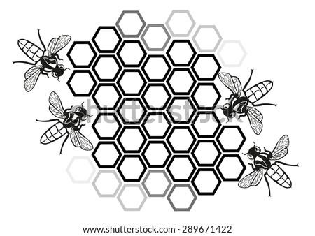 Flat Honey Bee in Honeycomb Illustration Silhouette. Editable Clip Art. - stock vector