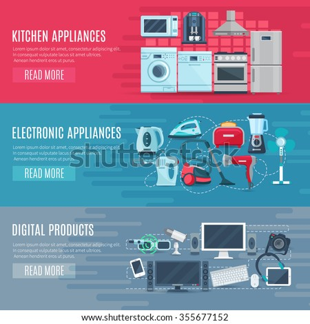 Flat horizontal household banners set of kitchen equipment electronic appliances and digital products vector illustration    - stock vector
