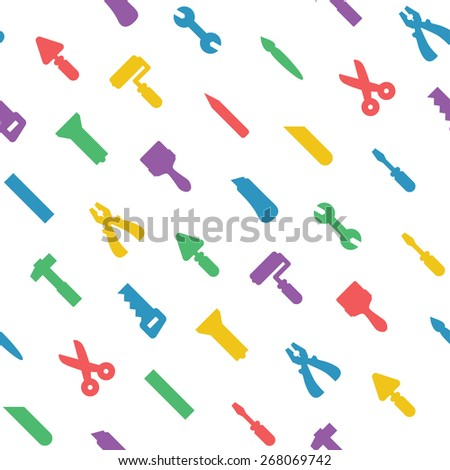 Flat house tools on white seamless pattern - stock vector