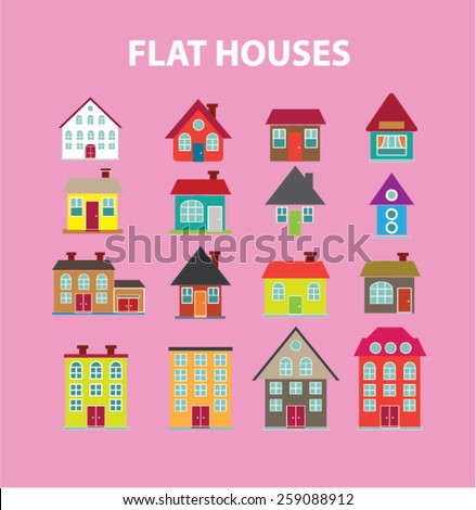 flat houses, buildings icons, signs, illustrations concept design set, vector - stock vector