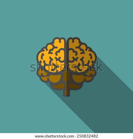 Flat Human Brain with Long Shadow.. Vector Illustration - stock vector