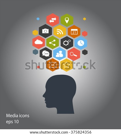 Flat human head vector with social media icons black