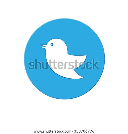 Flat icon birds on the background of blue circle isolated on white
