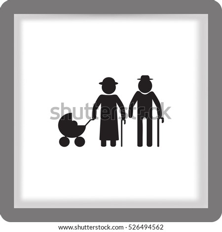 Flat icon. Elderly couple with a pram.