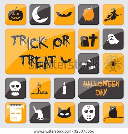Flat Icon Halloween Set. Vector illustration - stock vector