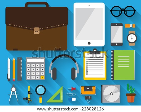 flat icon item in briefcase set on blue background - stock vector