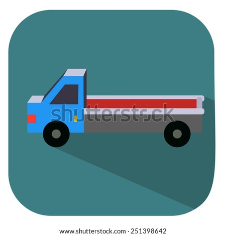 flat icon long truck - stock vector