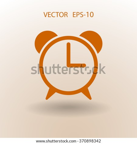 Flat icon of alarm clock - stock vector