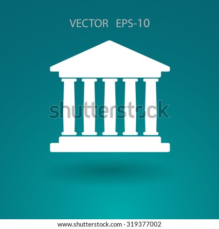Flat  icon of bank building - stock vector