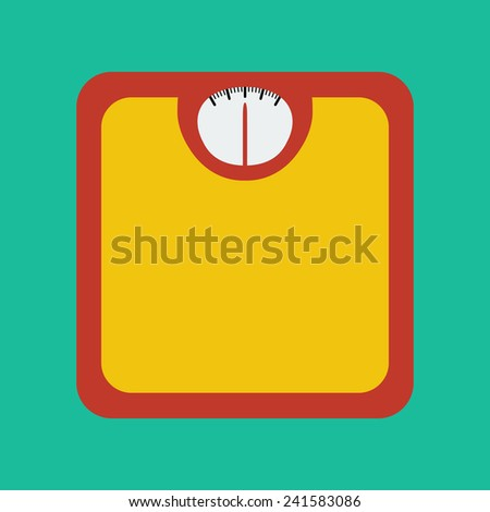 Flat Icon of Bathroom Scale. Vector Illustration - stock vector