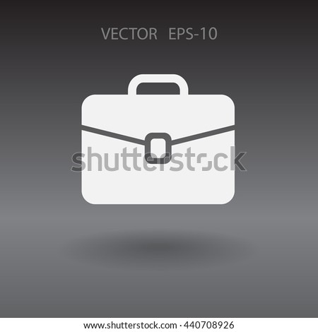 Flat icon of briefcase - stock vector