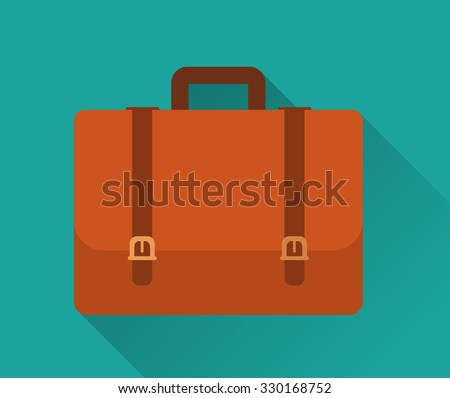 Flat Icon of Briefcase . Isolated on stylish green background. Element with a long shadow. Modern vector illustration for web and mobile. - stock vector
