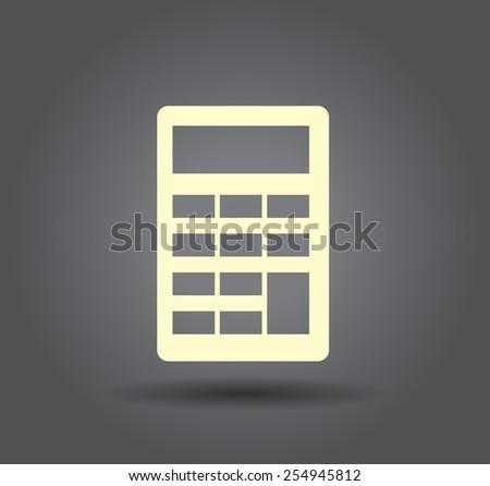 Flat icon of calculator - stock vector