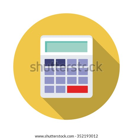 Flat icon of calculator with Long Shadow - stock vector