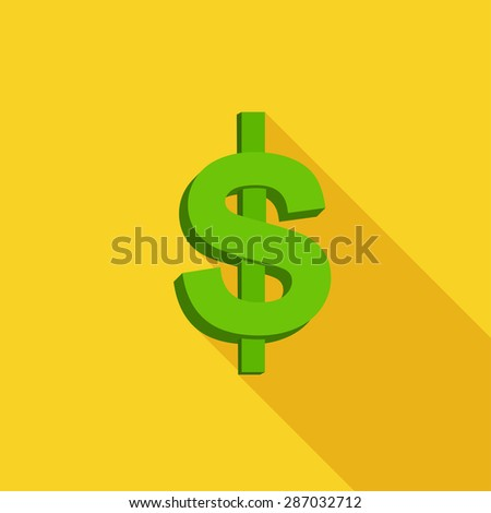 Flat Icon of Dolar. Isolated on stylish yellow background. Element with a long shadow. Modern vector illustration for web and mobile.