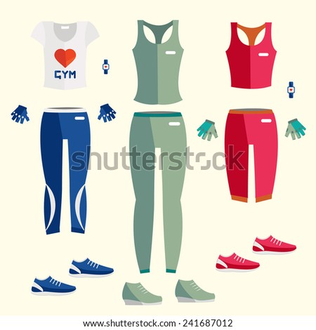 Flat icon of fitness dress. Fitness elements. Vector fitness set. Fitness woman set. Vector flat design of fitness. Fitness details. Fitness woman. Fitness equipments. Fitness graphic. - stock vector