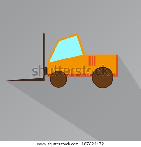 Flat Icon of Forklifts With Long Shadow - stock vector