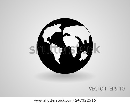 Flat icon of globe - stock vector
