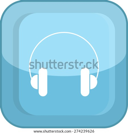 Flat Icon of headphones. Isolated on stylish blue background. Modern vector illustration for web and mobile. - stock vector