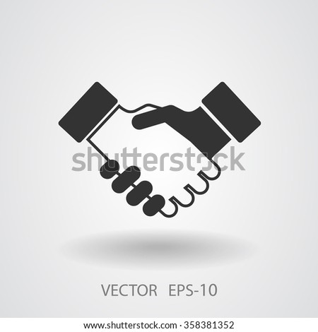 Flat  icon of heandshake - stock vector