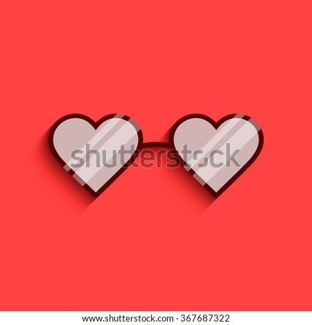 Flat icon of heart glasses. Love glasses. Sunglasses. Heart shape. Heart glasses. Vector sunglasses. Vector glasses. Love glasses with reflection. Isolated heart shaped glasses. Eyewear - stock vector