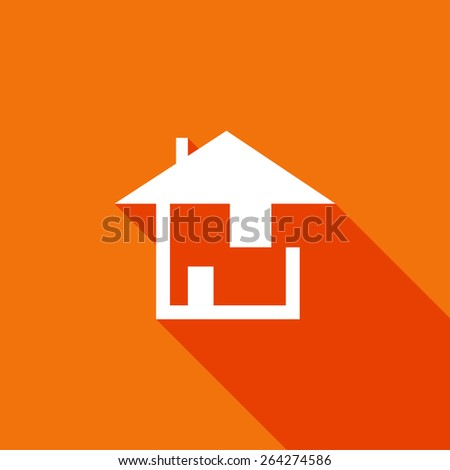 Flat Icon of house. Isolated on stylish color background. Element with a long shadow. Modern vector illustration for web and mobile. - stock vector