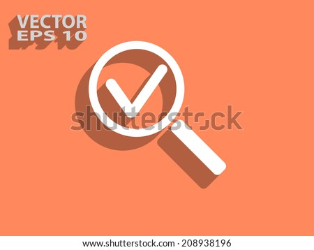Flat icon of loupe - stock vector