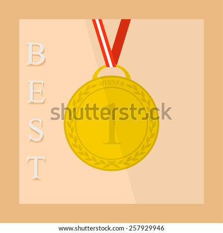 Flat icon of medal with ribbon 1 place