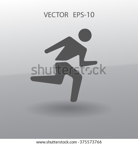 Flat icon of running man - stock vector