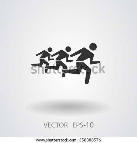 Flat icon of running mans - stock vector