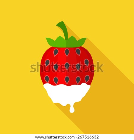 Flat Icon of strawberry . Isolated on stylish yellow background. Element with a long shadow. Modern vector illustration for web and mobile. - stock vector