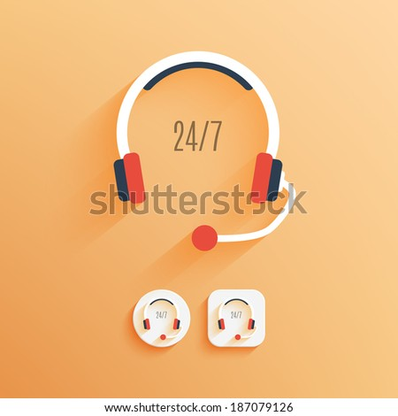 Flat icon of support. Examples of round and square buttons. Vector illustration EPS10. - stock vector