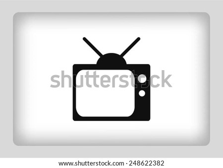 Flat icon of tv icon - stock vector