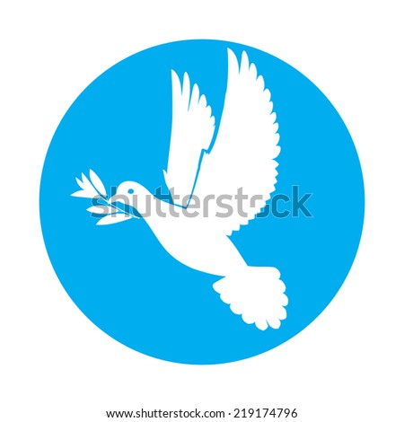 Flat icon of white dove of peace with olive twig in its beak - stock vector