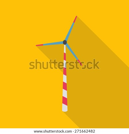 Flat icon of wind power plant. Ecology energy - vector. - stock vector